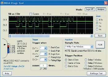 Рис. 2. Отслеживание формы сигналов разрабатываемого устройства, Logic Tool - Analyzer