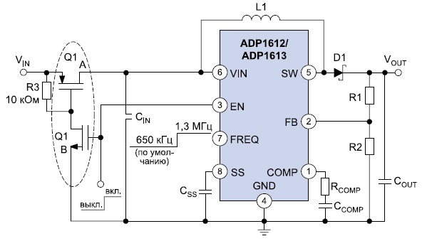 Типичная схема включения ADP1612/ADP1613