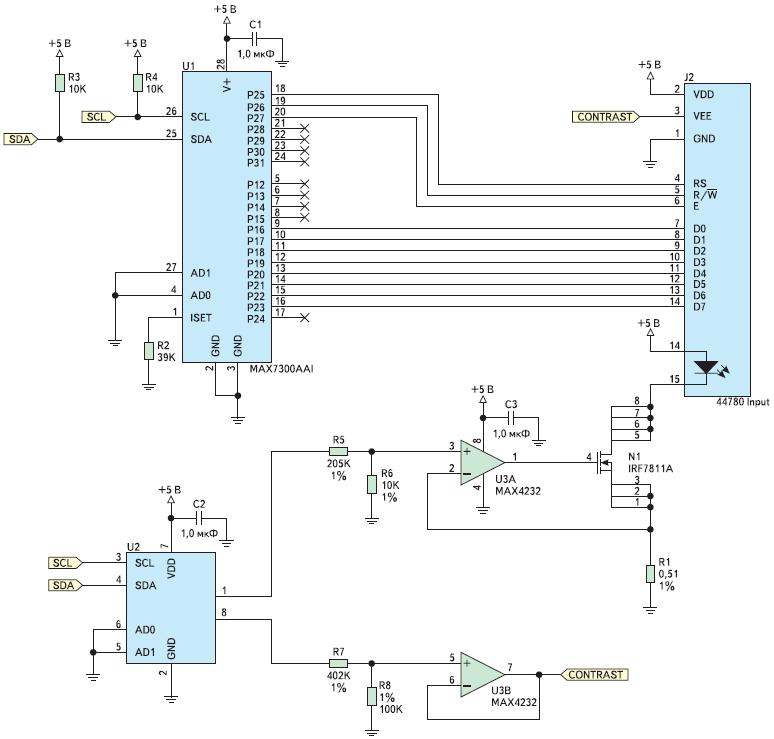 Рисунок. Схема, позволяющая снизить число требуемых выводов GPIO с 11 до 2, а также обеспечить цифровое управление контрастом и подсветкой дисплея