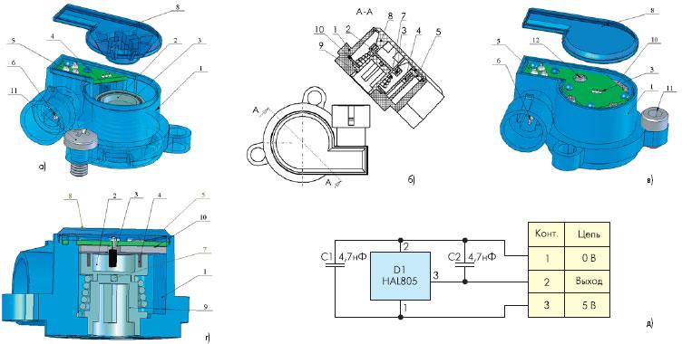 Программируемый датчик положения дроссельной заслонки с классическим датчиком Холла (HAL8x5/810 Micronas) — варианты со слабым магнитом без магнитопровода: