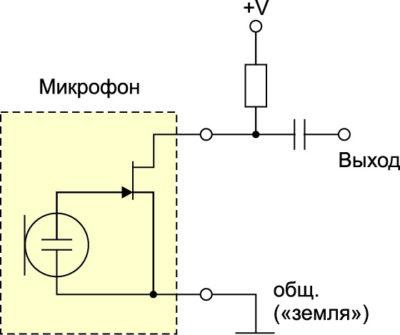 Предварительный усилитель электретного микрофона с двухпроводной связью