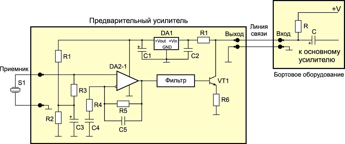 Базовое схемное решение удаленного предварительного усилителя