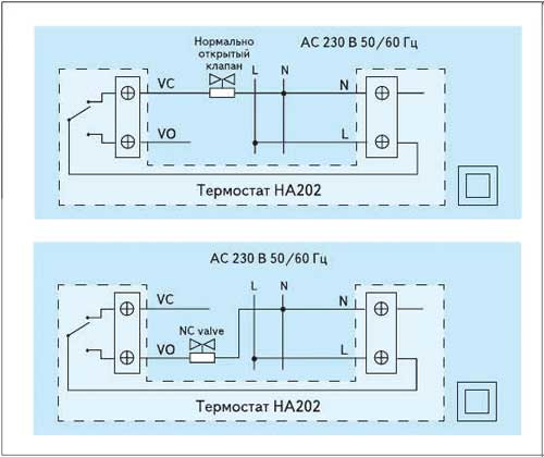 Рис. 1. Схема подключения термостата HA202