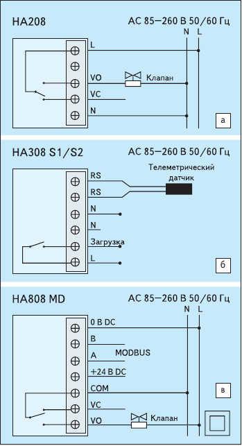 Рис. 2. Схема подключения термостатов:  а) HA208; б) HA308; в) HA808 MD