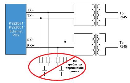 В микросхемах PHY KSZ8021/31/51 терминирование линии встроено, поэтому нет необходимости в применении дополнительных внешних компонентов