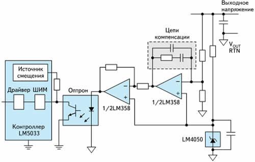 Контур обратной связи с термокомпенсированным ИОН и усилителем