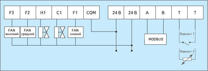 Рис. 6. Схема подключения термостата A4100