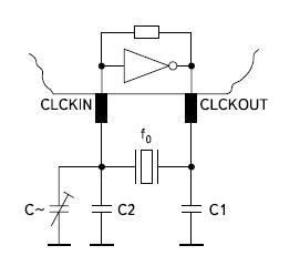 Схема кварцевого осциллятора