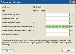 Вид информационной панели, содержащей сведения о ресурсах ПЛИС, используемых для реализации компаратора floating_point_compare_cc