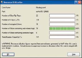 Вид информационной панели, содержащей сведения о ресурсах ПЛИС, используемых для реализации компаратора floating_point_compare_equal