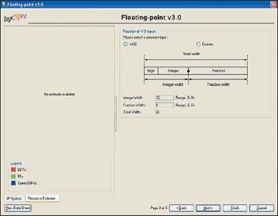 Диалоговая панель «мастера» настройки параметров ядра Floating-Point Operator версии v3.0, предназначенная для определения точности представления входных данных с фиксированной запятой в формируемом элементе