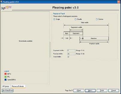 Диалоговая панель «мастера» настройки параметров ядра Floating-Point Operator версии v3.0, предназначенная для определения точности представления выходных данных с плавающей запятой в формируемом элементе