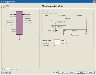 Вид второй диалоговой панели «мастера» настройки параметров ядра Floating-Point Operator версии v3.0, предназначенной для определения точности представления входных данных с плавающей запятой в формируемом элементе