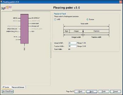 Вид третьей диалоговой панели «мастера» настройки параметров ядра Floating-Point Operator версии v3.0, предназначенной для выбора точности представления выходных данных с фиксированной запятой в формируемом элементе
