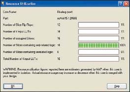 Вид информационной панели, содержащей сведения о ресурсах ПЛИС, необходимых для реализации элемента floating_point_sf_to_floating_point_df_v3_0