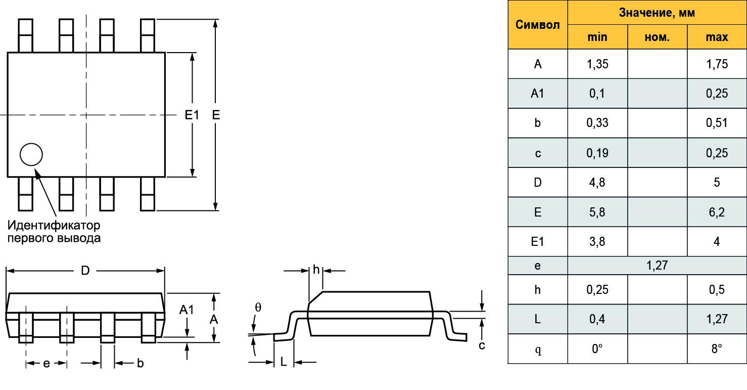 Габаритные размеры CAT25M02VI (SOIC8)