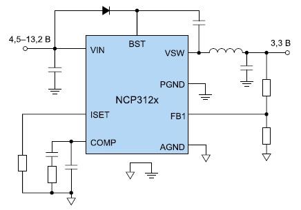 Схема включения микросхем конвертеров NCP3125/26/27