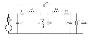 Эквивалентная схема трансформатора с подключенным источником сигнала и нагрузкой