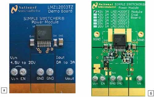 а) Демонстрационная плата LMZ12003DEMO; б) оценочная плата LMZ14203EVAL