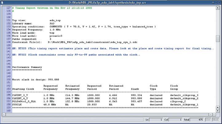 Рис. 8. Файл лога результата синтеза