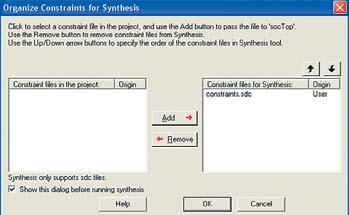 Рис. 9. Добавление файла ограничений для автоматического подключения при запуске синтезатора