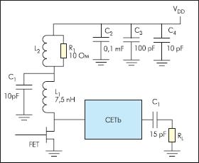 Применение шунтирующих конденсаторов в цепи смещения широкополосного усилителя на полевом транзисторе диапазона 1,9 ГГц