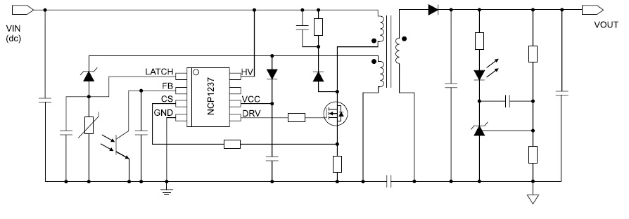 Типовая схема включения ШИМ-контроллера NCP1237