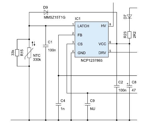 Фрагмент схемы устройства с контроллером NCP1237