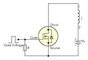 Тестовая схема для оценки устойчивости MOSFET-транзистора к всплескам тока в индуктивной нагрузке
