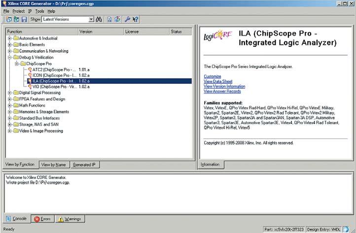 Рис. 2. Вид основного окна генератора параметризованных модулей CORE Generator в режиме выбора IP-ядер, относящихся к комплексу средств ChipScope Pro