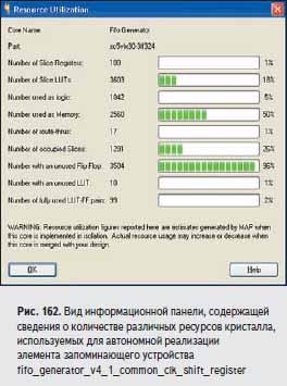 Вид информационной панели, содержащей сведения о количестве различных ресурсов кристалла