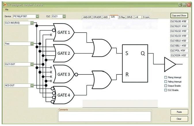 Окно утилиты конфигурирования логических ячеек микроконтроллеров Microchip