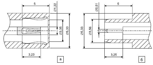 Интерфейс соединителя OSSP: а) розетка; б) вилка