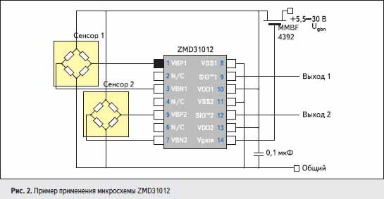 Пример применения микросхемы ZMD31012