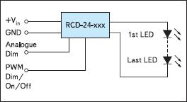 Блок-схема применения драйвера светодиодов