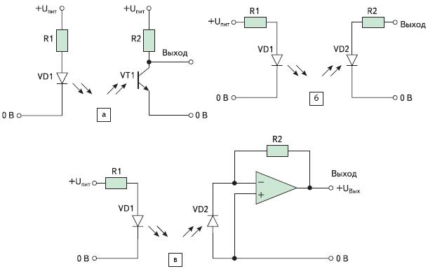 Рис. 75. Типичные принципиальные электрические схемы для включения оптопрерывателя и рефлектора