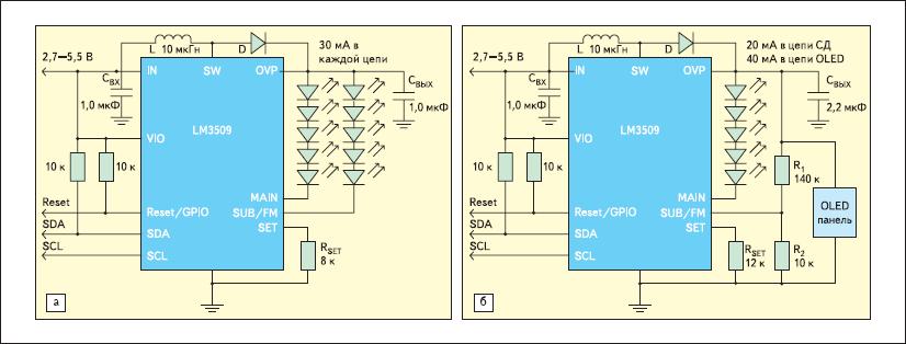 Типовые схемы включения LM3509