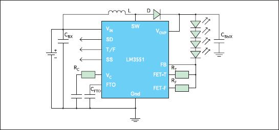 Типовая схема включения LM3551