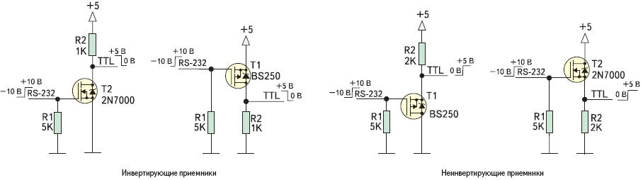 Рис. 3. Схемы применения транзисторов 2N7000 и BS250 в качестве приемников интерфейса RS-232
