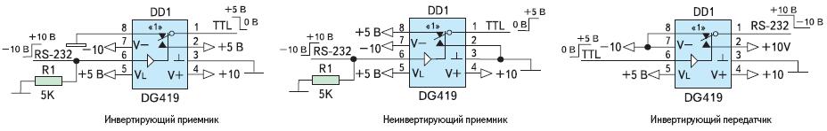 Рис. 4. Схемы применения коммутатора DG419 в качестве преобразователя интерфейса RS%232