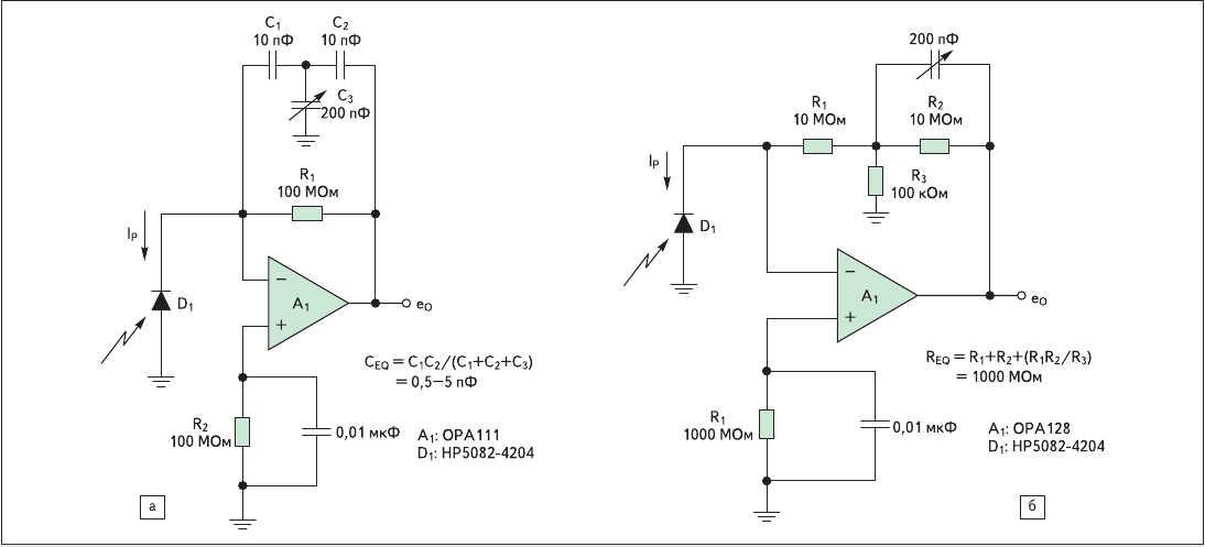 Рис. 4. а) Т-образная конденсаторная схема; б) развязка одним элементом в Т-образной резистивной цепи обратной связи