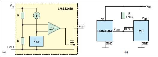 Структура микросхемы детектора спада напряжения питания LMS33460 (а) и его типовая схема включения (б)