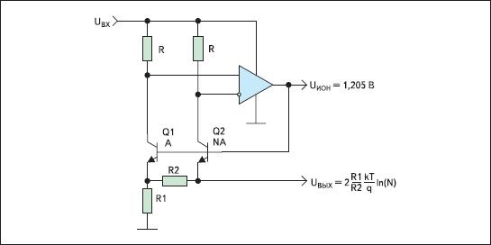 Схема измерения температуры и получения прецизионного опорного напряжения на ширине запрещенной зоны (Band Gap)