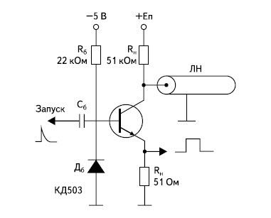 Схема релаксатора с разрядом накопительной коаксиальной линии через лавинный транзистор