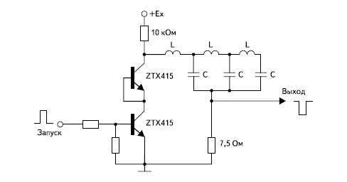 Релаксатор на двух последовательно соединенных лавинных транзисторах с разрядной линией и сосредоточенными постоянными