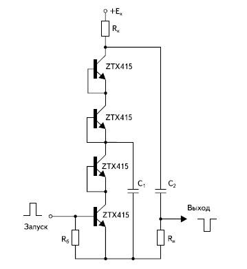Релаксатор на четырех последовательно включенных ЛТОООЗ фирмы Zetex