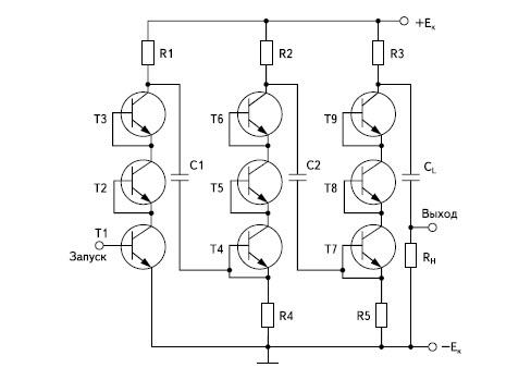 Генератор по схеме Аркадьева-Маркса с последовательным включением лавинных транзисторов в каждой секции