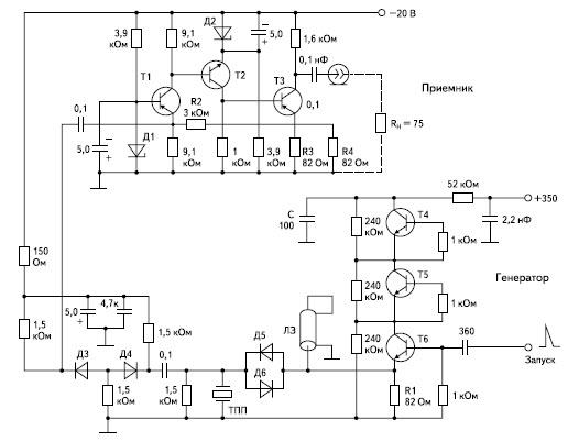 Принципиальная схема приемопередающего устройства для совмещенного ультразвукового преобразователя эхо-импульсного толщиномера
