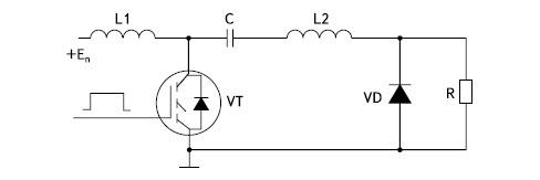 Схема генератора коротких импульсов на приборах с резким восстановлением после пробоя и индуктивными накопителями энергии