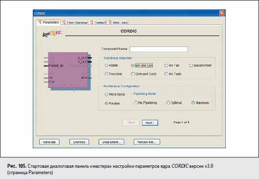Стартовая диалоговая панель «мастера» настройки параметров ядра CORDIC версии v3.0 (страница Parameters)